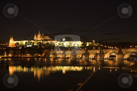 Charles Brigde and Prague Castle stock photo, Night view of Charles Brigde and Prague Castle by Pierre Landry