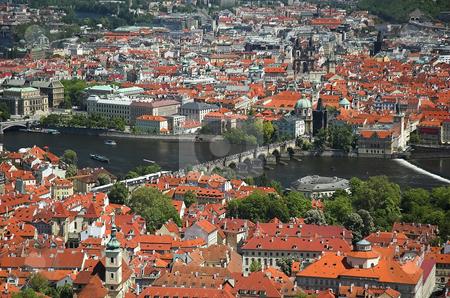Aerial view of Charles Bridge stock photo, Prague and Charles Bridge viewed from Petrin Tower by Pierre Landry