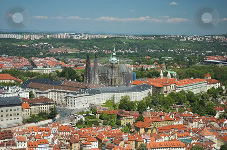 Aerial view of Prague Castle and St-Vitus Cathedral stock photo, Prague Castle and St-Vitus Cathedral viewed from the top level of Petrin Tower by Pierre Landry