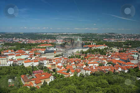 Aerial view of Prague stock photo, Prague Castle and St-Vitus Cathedral viewed from the top level of Petrin Tower by Pierre Landry