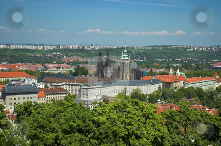 Prague Castle and St-Vitus Cathedral stock photo, Breathtaking view from Petrin Tower by Pierre Landry
