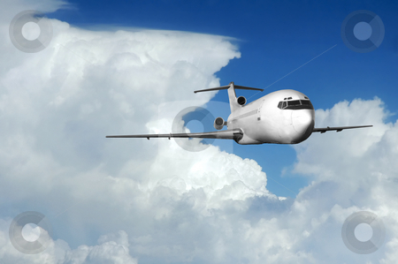 Airliner coming out of clouds stock photo, Jet airplane coming out of clouds at high altitude. by Pierre Landry