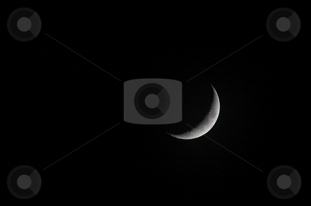Crescent moon stock photo, Brightly lit details on surface of crescent moon by Pierre Landry