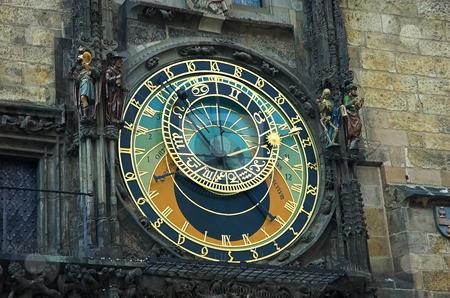 Prague Astronomical clock stock photo, Close up view of Prague Astronomical clock by Pierre Landry