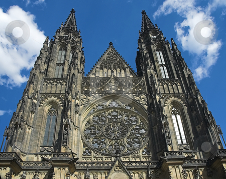 St-Vitus Cathedral stock photo, The facade of St-Vitus Cathedral in Prague, Czech Republic by Pierre Landry