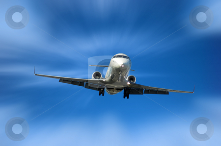 Corporate Jet  stock photo, Airplane fast approaching airport for landing by Pierre Landry