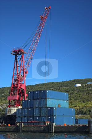 Crane and containers stock photo, Crane and containers in shipyard by Pierre Landry