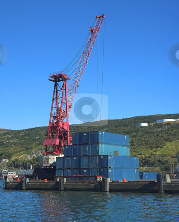 Docks stock photo, Crane and containers in shipyard by Pierre Landry