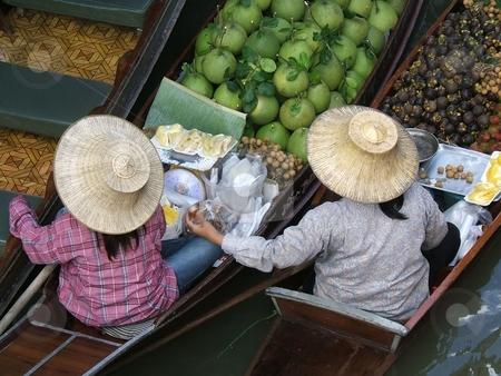 Thai woman working in floating market stock photo, Thai woman working in floating market - Thailand - Damnoen Saduak Floating Market, near Banghok by Gautier Willaume