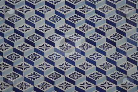 Outdoor decorative mosaic stock photo, Traditional ancient mosaic tiles on a house in Lisbon, Portugal, Europe by Gautier Willaume