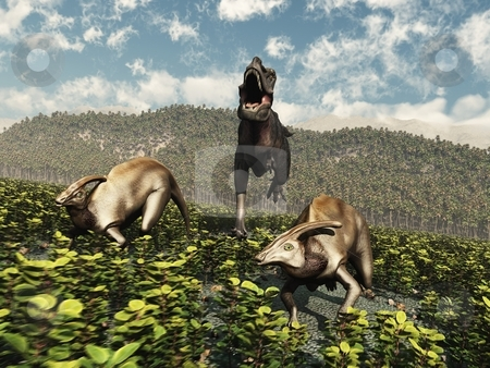 Tarbosaurus Rampage stock photo, A Tarbosaurus, a cousin of the Tyrannosaurus Rex, chases two Parasaurolophuses through a field. by Allan Tooley