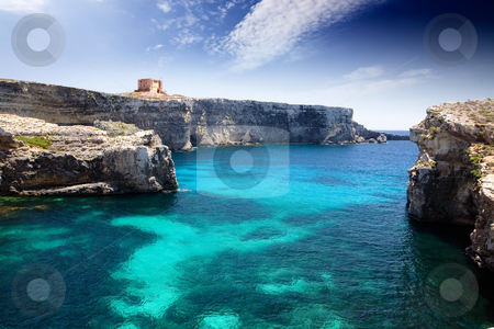 Marija Tower stock photo, Marija tower on Comino Island, malta by Tyler Olson