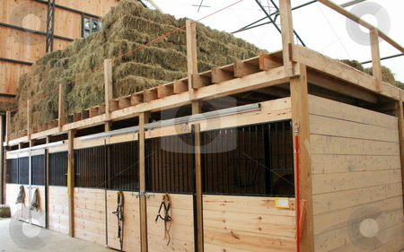 New Modern Stable stock photo, A newly-built stable, showing hay storage above box stalls by Tom and Beth Pulsipher