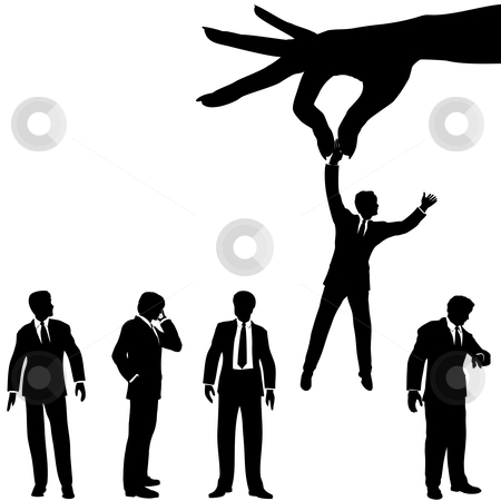 Hand selects business man silhouette from group of people stock vector clipart, A female hand to find, select, choose, pick a business man to dangle above a line of business people. by Michael Brown
