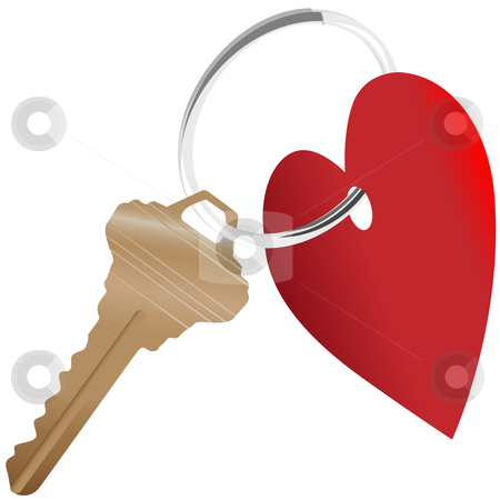 Heart symbol and house key on a shiny keyring stock vector clipart, Love the Home: a set of heart symbol and house key on a shiny key ring. by Michael Brown