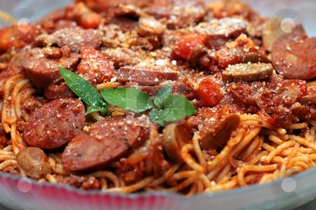 Spaghetti pasta stock photo, Close up of a spaghetti sausage pasta by Jonas Marcos San Luis