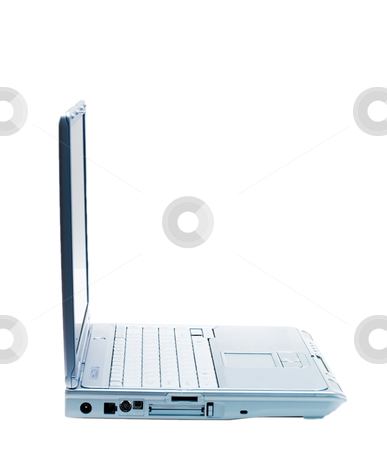 Right Facing Laptop stock photo, An isolated silver laptop facing right on a white background by Johan Knelsen