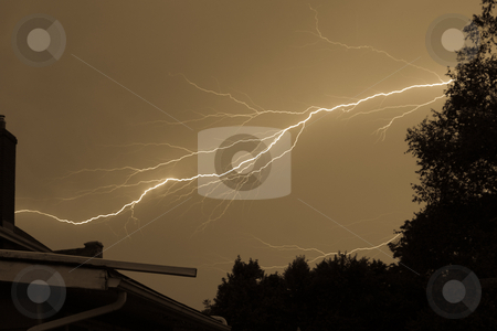 Lightning Storm stock photo, Intense Lightning Storm striking across the frame to a chimney by Johan Knelsen