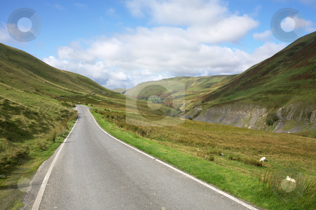 Narrow single lane country road near Cymystwyth in Wales UK. stock photo, Narrow single lane country road near Cymystwyth in Wales UK. by Stephen Rees