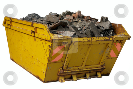 A skip full of rubble isolated over white. stock photo, A skip full of rubble isolated over white. by Stephen Rees