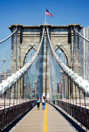 Brooklyn Bridge stock photo, View of Brooklyn bridge towards Manhattan. by Paul Hakimata