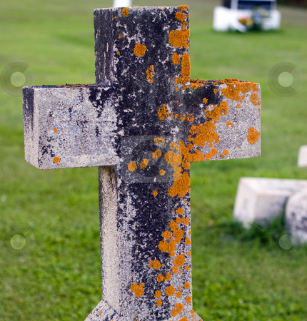 Mossy Tombstone stock photo, Closeup of a tombstone with moss growing on it by Richard Nelson