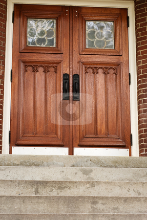 Doorway stock photo, A set of wooden doors at the top of some stairs by Richard Nelson