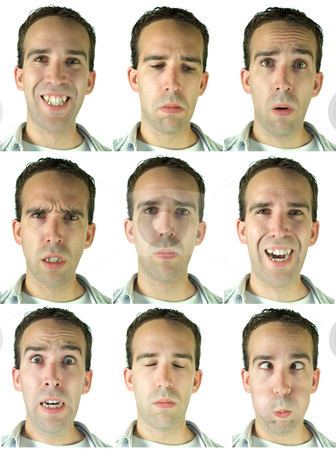 Facial Expressions stock photo, Collection of nine different facial expressions and emotions, in high resolution by Richard Nelson