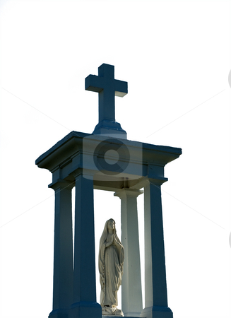 Religious Statue stock photo, Isolated religious statue and cross, done on white by Richard Nelson
