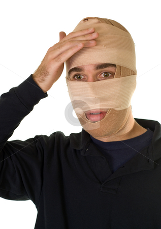 Surgery Patient stock photo, A man wearing bandages after getting out from surgery by Richard Nelson