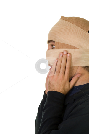 Cosmetic Surgery stock photo, A man wearing tensor bandages after receiving some cosmetic surgery by Richard Nelson