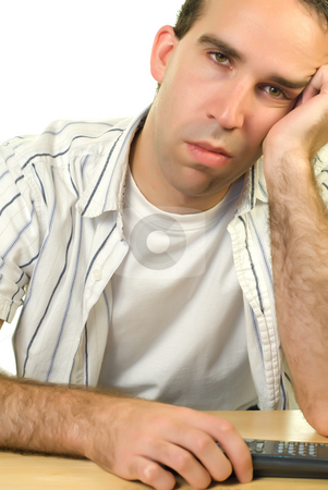 Boredom stock photo, A man watching tv because there is nothing else to do by Richard Nelson