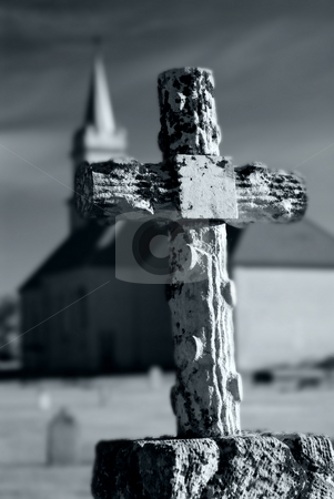 Church Graveyard stock photo, A spooky graveyard with a haunted church in the background by Richard Nelson