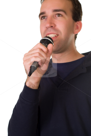 Male Singer stock photo, A male singer isolated on a white background by Richard Nelson