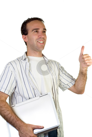 Isolated College Student stock photo, A young male college or university studen giving the thumbs up by Richard Nelson