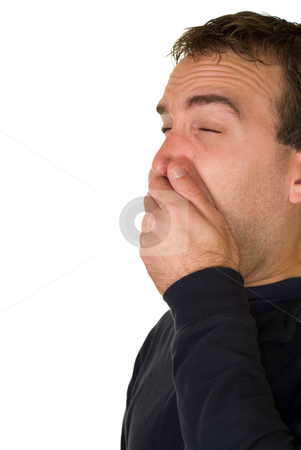 Sneeze stock photo, A man sneezing, isolated on a white background by Richard Nelson