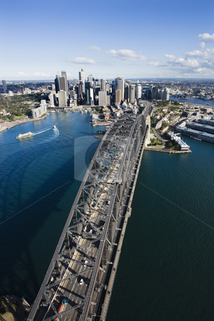 Sydney Harbour Bridge. stock photo, Aerial view of Sydney Harbour Bridge and skyline in  Sydney, Australia. by Iofoto Images