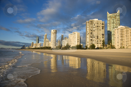 Surfers Paradise, Australia. stock photo, Beachfront high rise buildings on Surfers Paradise, Australia. by Iofoto Images