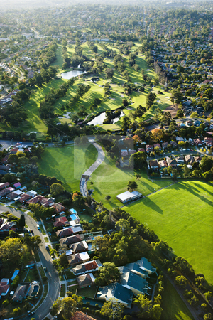 Golf course, Australia. stock photo, Aerial view of Ryde Parramatta Golf Course and buildings in West Ryde, Australia. by Iofoto Images