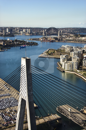 Anzac Bridge, Australia. stock photo, Aerial view of Anzac Bridge and buildings by harbour in Sydney, Australia. by Iofoto Images