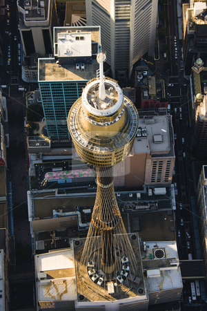 AMP Tower, Sydney, Australia. stock photo, Aerial view of Centrepoint Tower in Sydney, Australia. by Iofoto Images