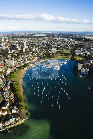 Rushcutters Bay, Australia. stock photo, Aerial view of buildings and boats  in Rushcutters Bay, Australia. by Iofoto Images
