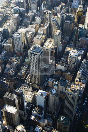 Sydney, Australia skyscrapers. stock photo, Aerial view of skyscrapers in downtown Sydney, Australia. by Iofoto Images