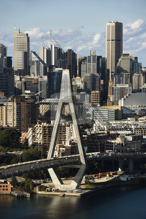 Sydney, Australia. stock photo, Aerial view of Anzac Bridge and buildings in Sydney, Australia. by Iofoto Images