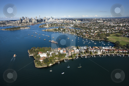 Aerial of Snails Bay, Australia. stock photo, Aerial view of boats in Snails Bay with view of downtown skyline in Sydney, Australia. by Iofoto Images