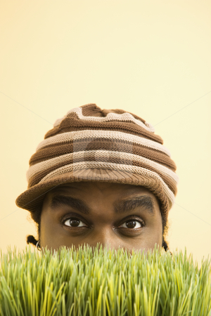 Man hiding in grass. stock photo, African-American mid-adult man wearing knit hat with brim peeking at viewer from behind grass. by Iofoto Images