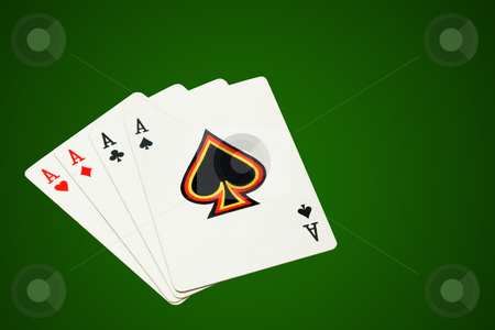 Four aces stock photo, Four aces, poker cards on green background, isolated, clipping path excludes the shadow. by Pablo Caridad