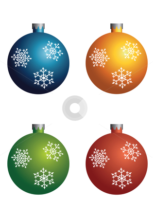 Christmas Baubles stock vector clipart, Vector illustration of a set of Christmas baubles with snowflakes in four different colors. by Inge Schepers
