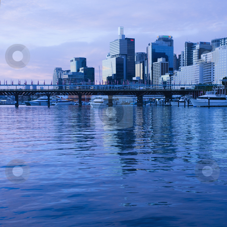 Cockle Bay, Australia. stock photo, Pyrmont Bridge over Darling Harbour with skyscrapers in Sydney, Australia. by Iofoto Images