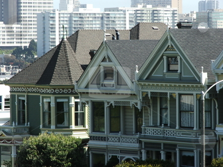 Victorian Painted Ladies stock photo, PAINTED LADIES - San Francisco has numerous